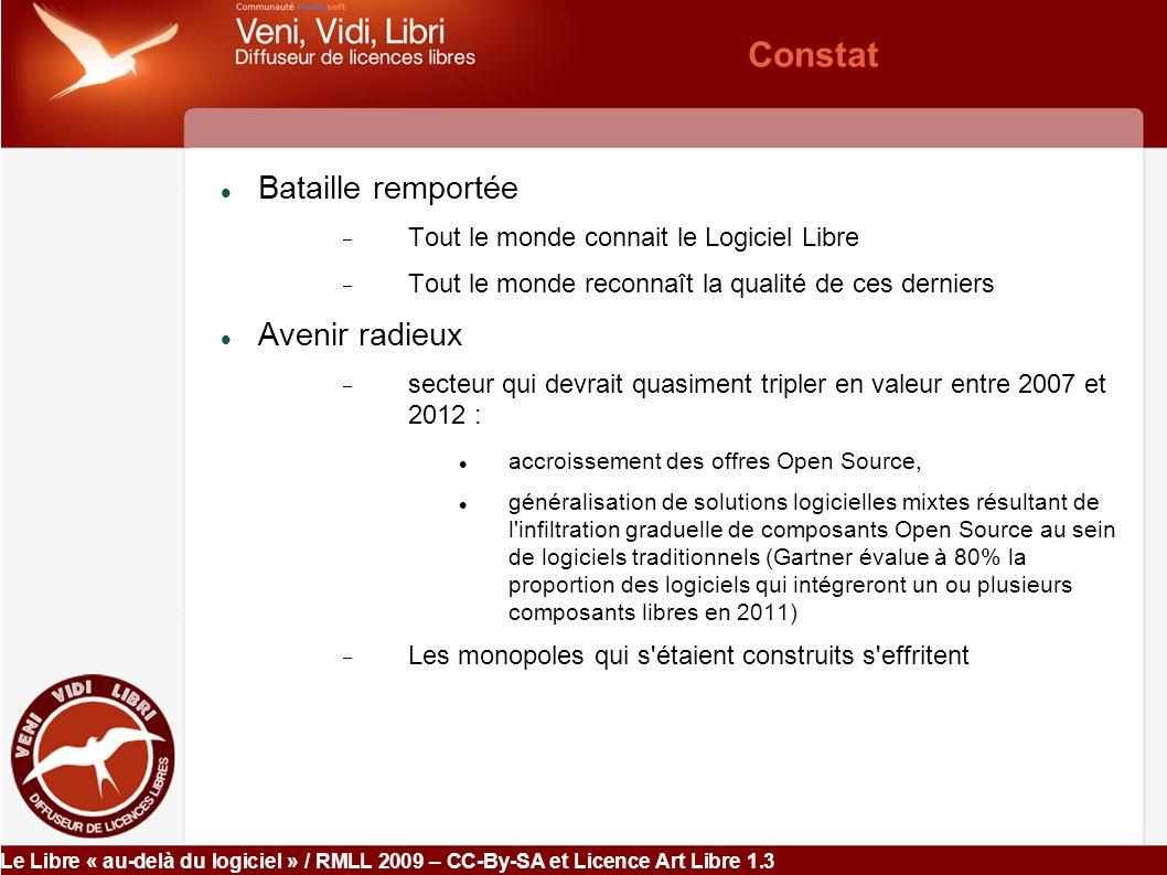Le Libre « au-delà du logiciel » / RMLL 2009 – CC-By-SA et Licence Art Libre 1.3 III- Les ponts entre le monde du logiciel, et au-delà Interdépendance :  Peuvent participer à une même finalité ex.