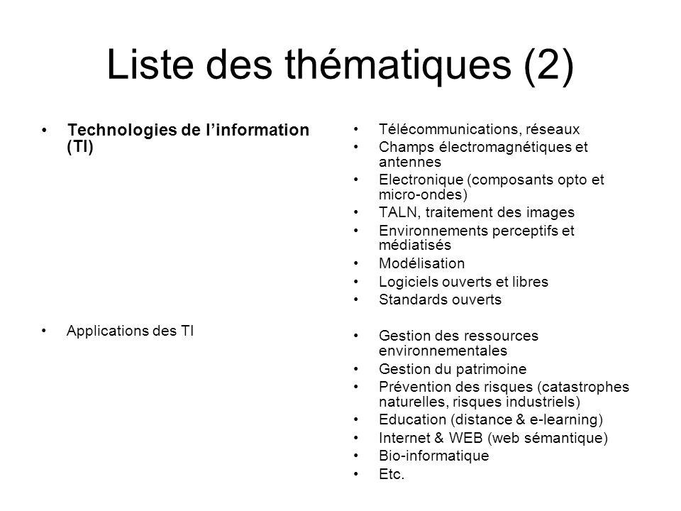 Liste des thématiques (2) Technologies de l'information (TI) Applications des TI Télécommunications, réseaux Champs électromagnétiques et antennes Ele