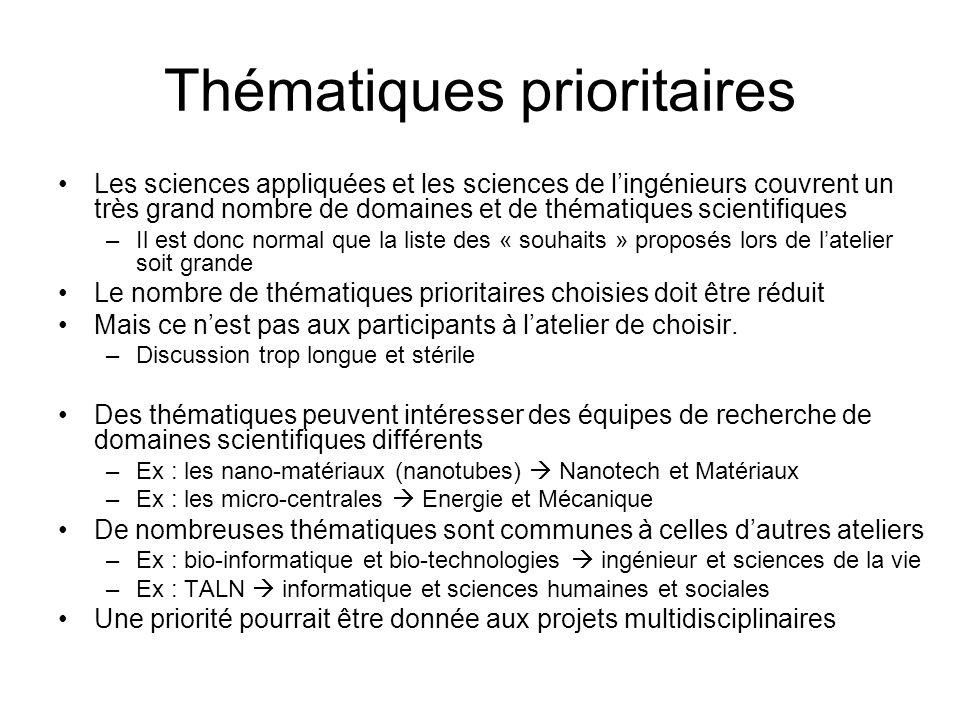 Thématiques prioritaires Les sciences appliquées et les sciences de l'ingénieurs couvrent un très grand nombre de domaines et de thématiques scientifi