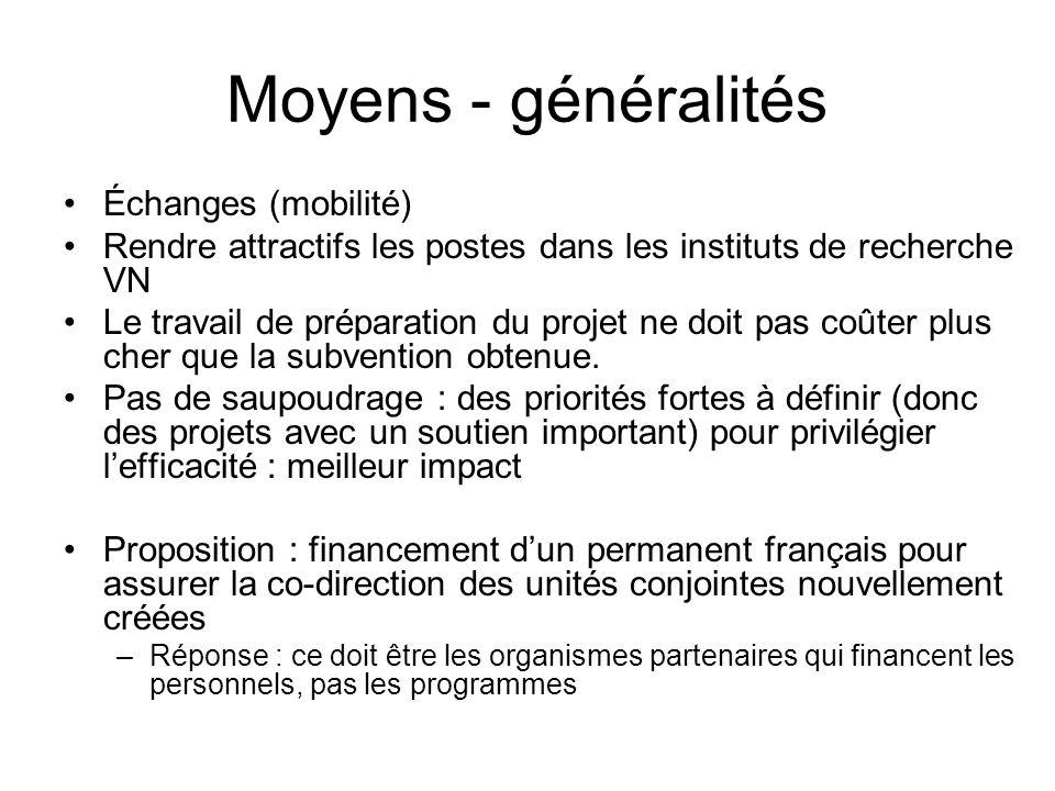 Moyens - généralités Échanges (mobilité) Rendre attractifs les postes dans les instituts de recherche VN Le travail de préparation du projet ne doit p