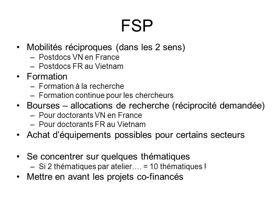 FSP Mobilités réciproques (dans les 2 sens) –Postdocs VN en France –Postdocs FR au Vietnam Formation –Formation à la recherche –Formation continue pou