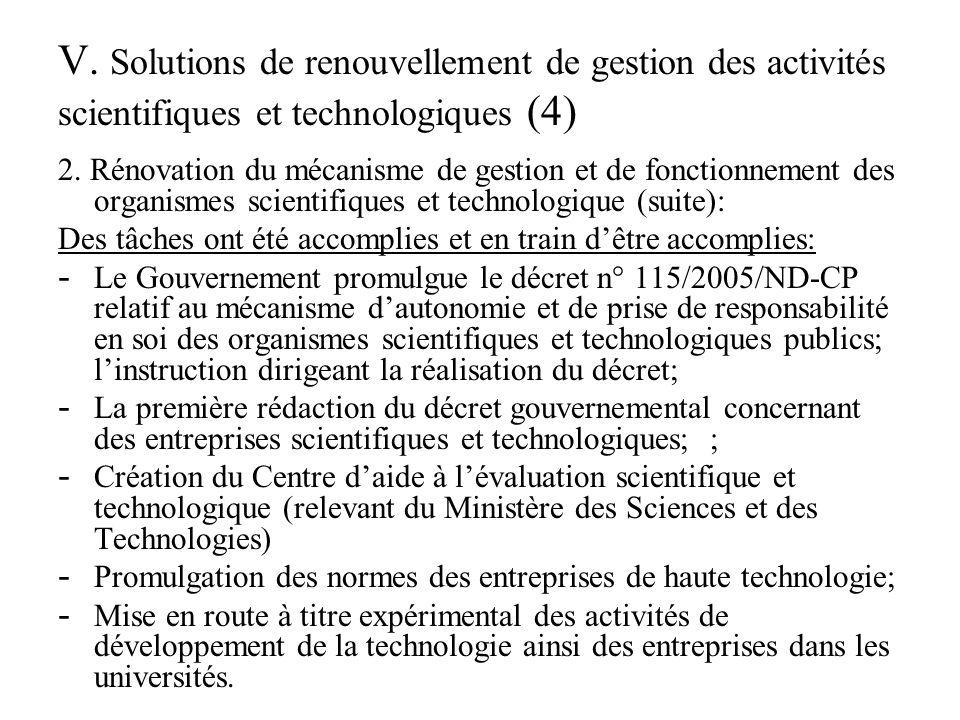 V. Solutions de renouvellement de gestion des activités scientifiques et technologiques (4) 2.