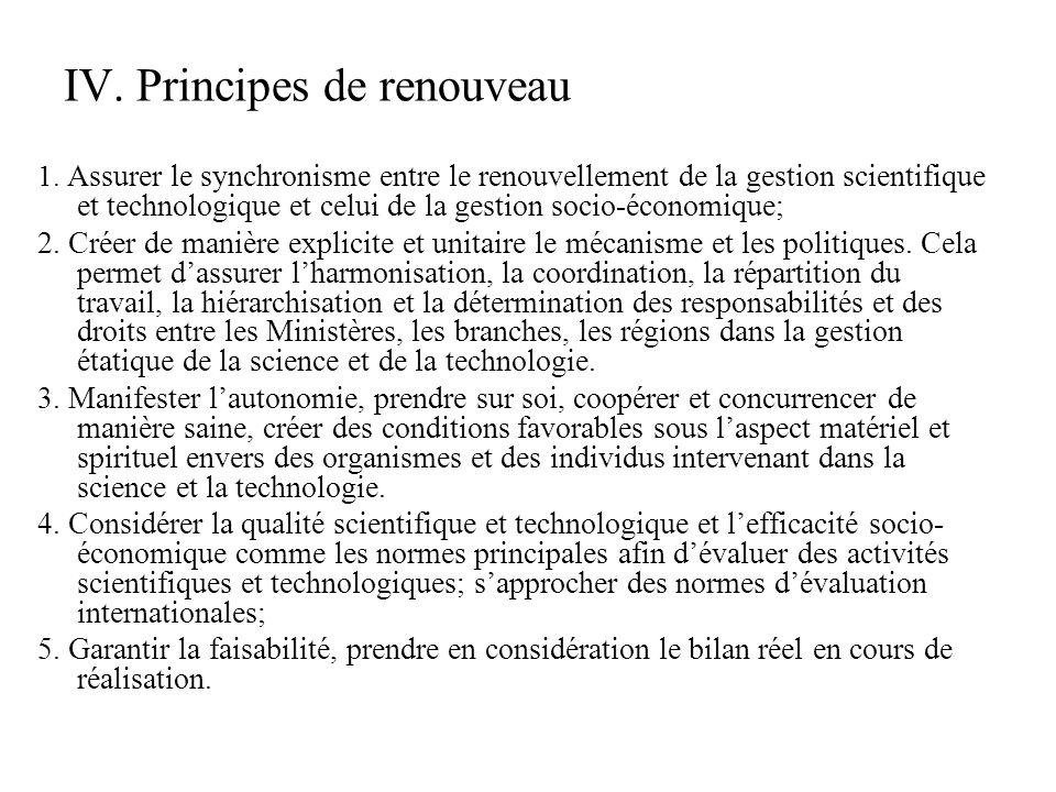 IV. Principes de renouveau 1.