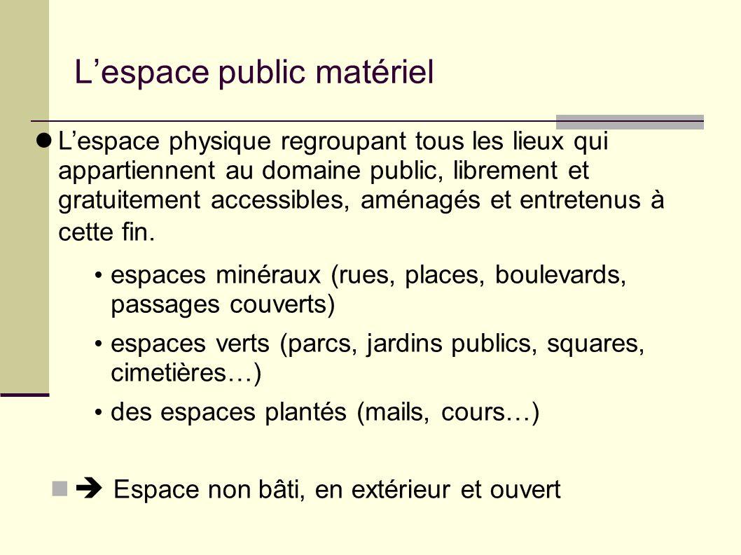 L'espace public matériel L'espace physique regroupant tous les lieux qui appartiennent au domaine public, librement et gratuitement accessibles, aménagés et entretenus à cette fin.