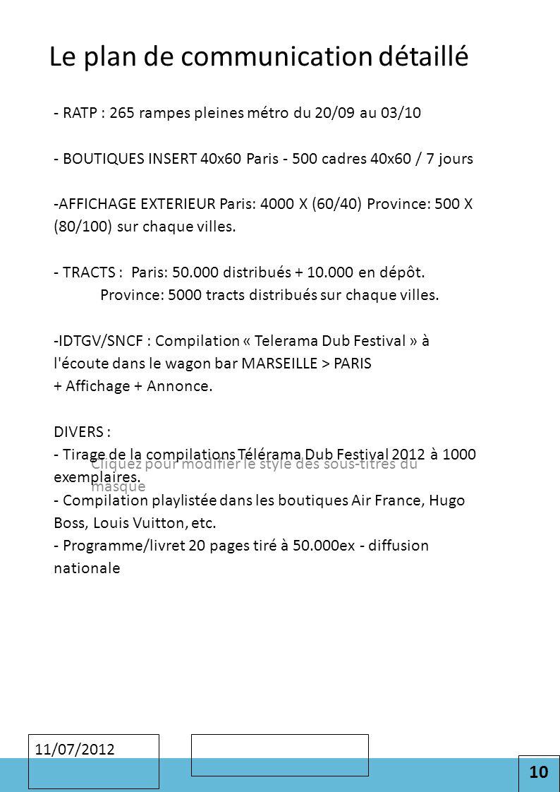 10 Cliquez pour modifier le style des sous-titres du masque 11/07/2012 Le plan de communication détaillé - RATP : 265 rampes pleines métro du 20/09 au 03/10 - BOUTIQUES INSERT 40x60 Paris - 500 cadres 40x60 / 7 jours -AFFICHAGE EXTERIEUR Paris: 4000 X (60/40) Province: 500 X (80/100) sur chaque villes.