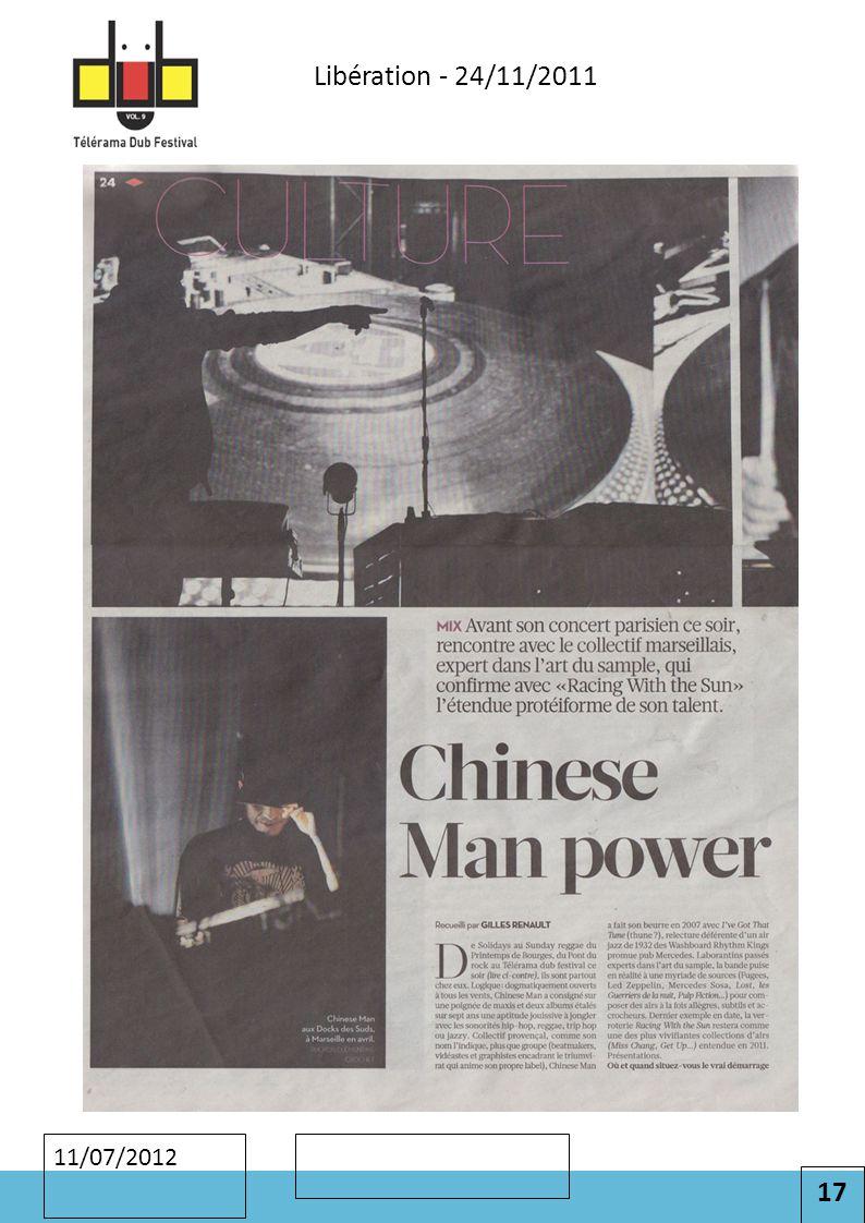 17 Cliquez pour modifier le style des sous-titres du masque 11/07/2012 Libération - 24/11/2011