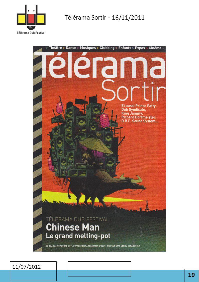 19 Cliquez pour modifier le style des sous-titres du masque 11/07/2012 Télérama Sortir - 16/11/2011