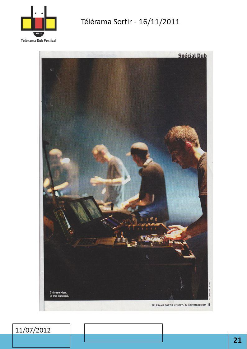 21 Cliquez pour modifier le style des sous-titres du masque 11/07/2012 Télérama Sortir - 16/11/2011