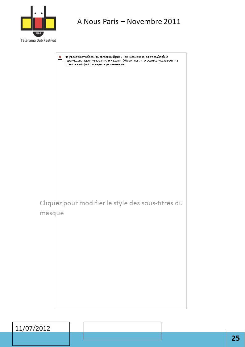 25 Cliquez pour modifier le style des sous-titres du masque 11/07/2012 A Nous Paris – Novembre 2011