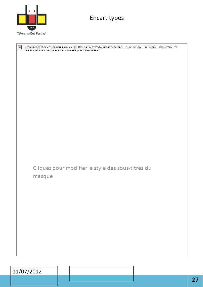 27 Cliquez pour modifier le style des sous-titres du masque 11/07/2012 Encart types