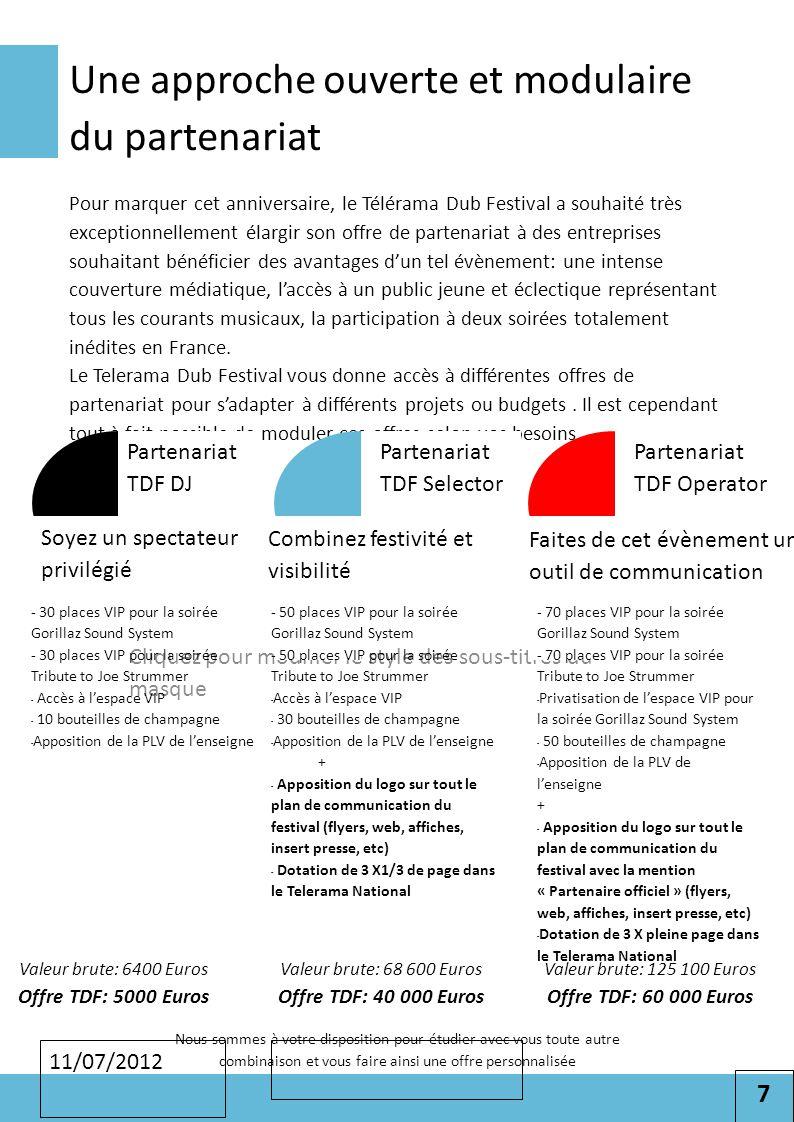 7 Cliquez pour modifier le style des sous-titres du masque 11/07/2012 Une approche ouverte et modulaire du partenariat Pour marquer cet anniversaire,