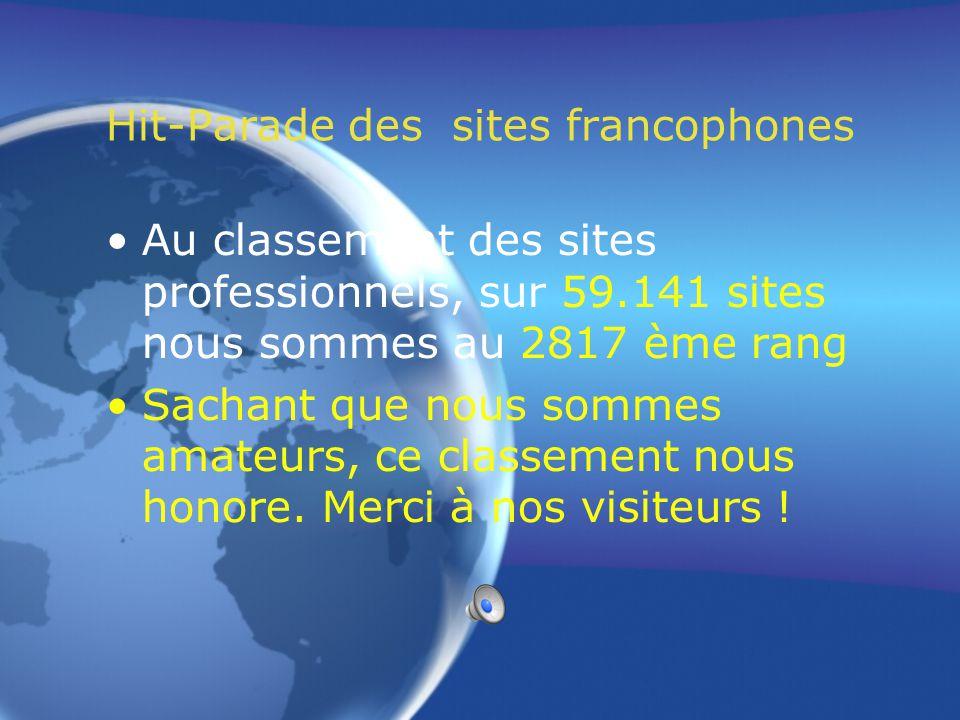 Hit-Parade des sites francophones Au classement général, sur 183.652 sites nous sommes au 9215 ème rang Cela prouve un très bon référencement.