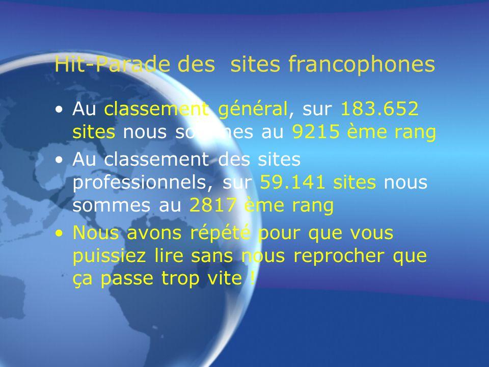 Hit-Parade des sites francophones Au classement des sites professionnels, sur 59.141 sites nous sommes au 2817 ème rang Sachant que nous sommes amateurs, ce classement nous honore.