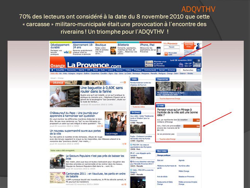  Un sondage organisé par  « « La Provence » démontre avec  Éclat éclat que cette provocation militaro-municipale est dénoncée à 70 % par les Orange