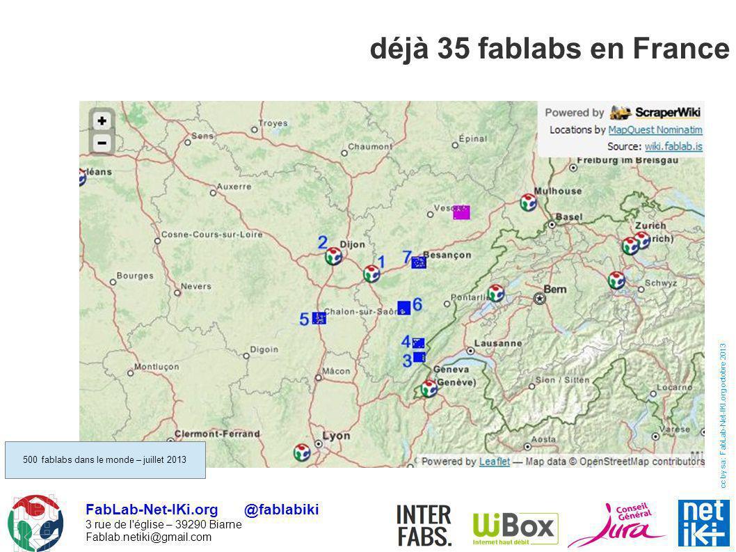 FabLab-Net-IKi.org @fablabiki 3 rue de l'église – 39290 Biarne Fablab.netiki@gmail.com cc by sa : FabLab-Net-IKI.org octobre 2013 déjà 35 fablabs en F