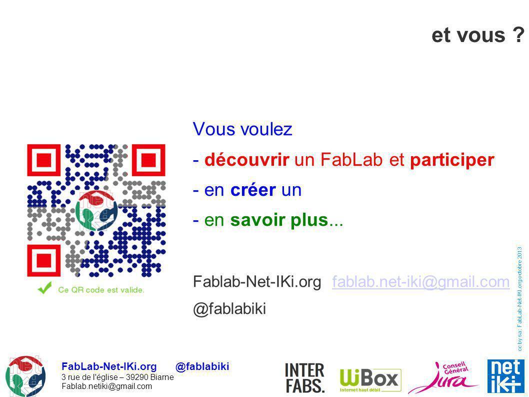 FabLab-Net-IKi.org @fablabiki 3 rue de l'église – 39290 Biarne Fablab.netiki@gmail.com cc by sa : FabLab-Net-IKI.org octobre 2013 et vous ? Vous voule