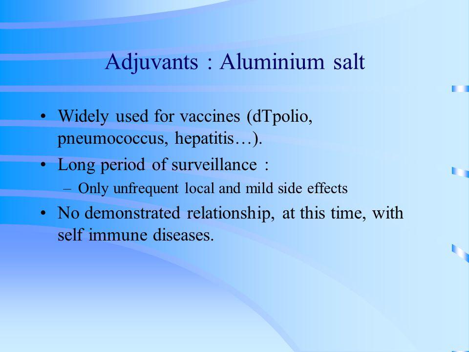 Adjuvants : Aluminium salt Widely used for vaccines (dTpolio, pneumococcus, hepatitis…).