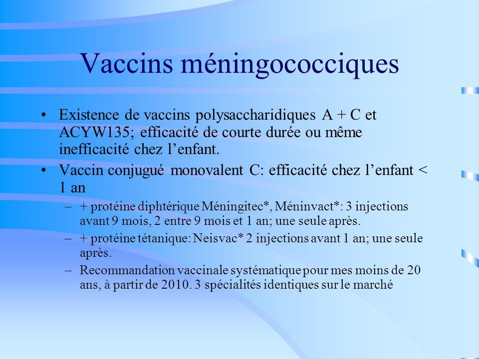 Vaccins méningococciques Existence de vaccins polysaccharidiques A + C et ACYW135; efficacité de courte durée ou même inefficacité chez l'enfant.