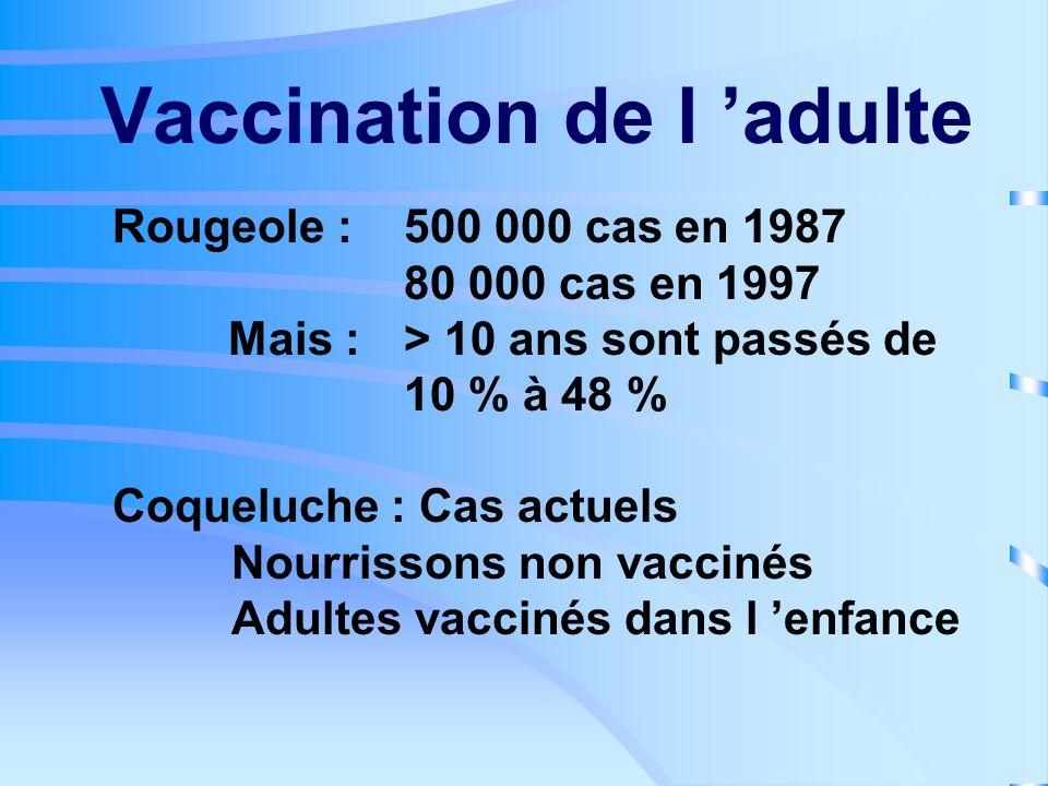 Vaccination de l 'adulte Professionnelle :.santé : VHB, grippe, BCG, diphtérie.