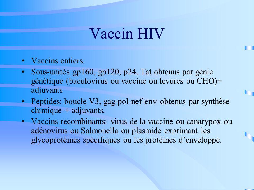 Vaccin HIV Vaccins entiers.