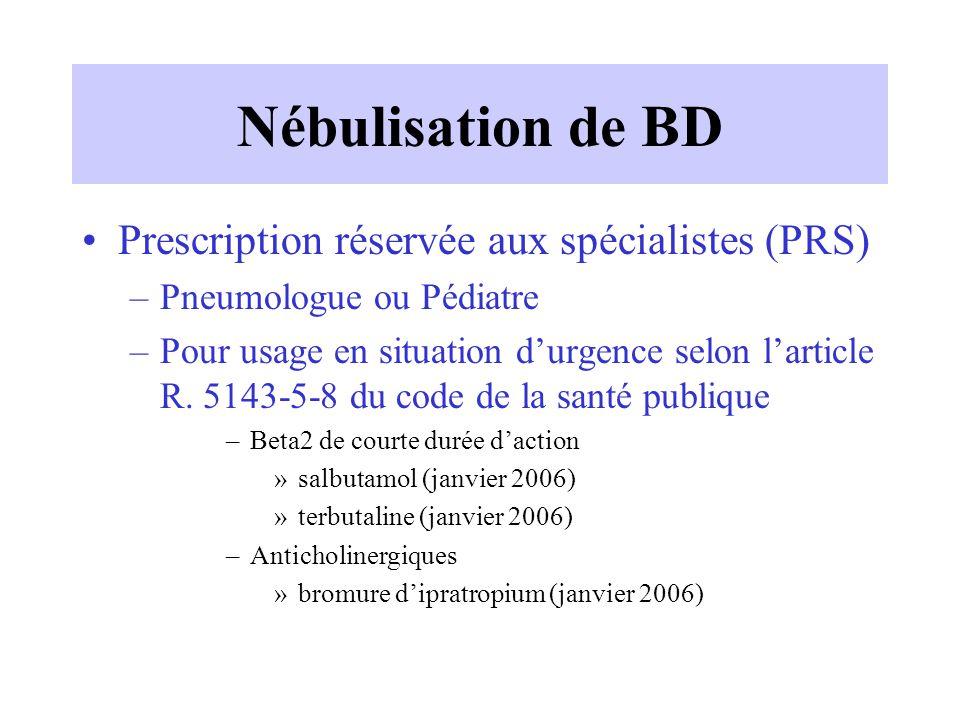 Nébulisation de BD Prescription réservée aux spécialistes (PRS) –Pneumologue ou Pédiatre –Pour usage en situation d'urgence selon l'article R. 5143-5-