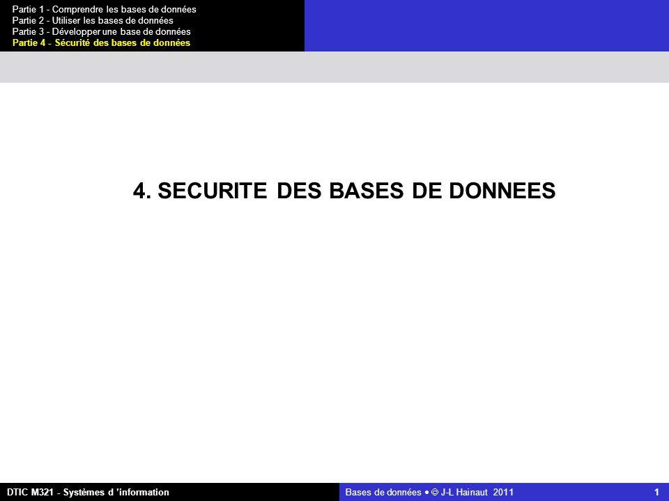 Bases de données   J-L Hainaut 2011 42 Partie 1 - Comprendre les bases de données Partie 2 - Utiliser les bases de données Partie 3 - Développer une base de données Partie 4 - Sécurité des bases de données DTIC M321 - Systèmes d 'information 4.4 Confidentialité et contrôle des accès L inférence statistique On calcule d abord la taille de R N1 = select count(*) from EMPLOYE where NOM < M = 8 N2 = select count(*) from EMPLOYE where NOM >= M = 8 N = N1 + N2= 16 ET:EMPLOYE where NOM < M R: EMPLOYE E:EMPLOYE where LOCALITE = Poitiers and CAT = B2 R-ET:EMPLOYE where NOM >= M et on vérifie la qualité du traceur : N1/N = 8/16 = 0,5  excellent 4.1 Introduction4.5 Protection contre les intrusions 4.2 Intégrité des données 4.6 Conclusions 4.3 Disponibilité des données 4.4 Confidentialité et contrôle des accès