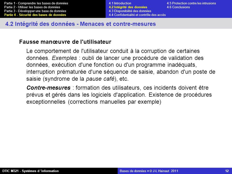 Bases de données   J-L Hainaut 2011 12 Partie 1 - Comprendre les bases de données Partie 2 - Utiliser les bases de données Partie 3 - Développer une base de données Partie 4 - Sécurité des bases de données DTIC M321 - Systèmes d 'information 4.2 Intégrité des données - Menaces et contre-mesures Fausse manœuvre de l utilisateur Le comportement de l utilisateur conduit à la corruption de certaines données.