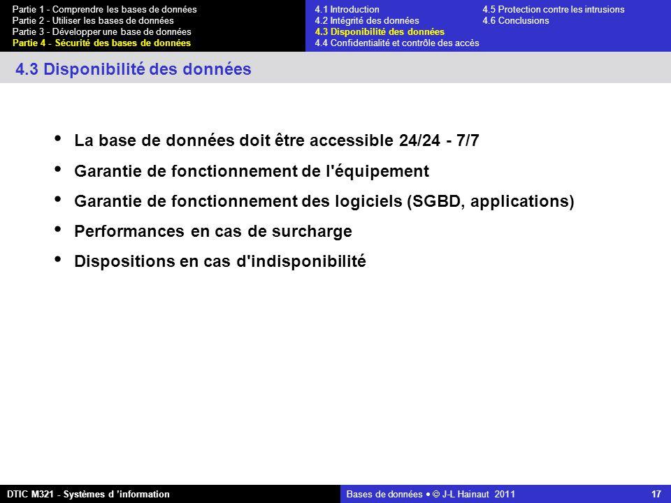 Bases de données   J-L Hainaut 2011 17 Partie 1 - Comprendre les bases de données Partie 2 - Utiliser les bases de données Partie 3 - Développer une base de données Partie 4 - Sécurité des bases de données DTIC M321 - Systèmes d 'information 4.3 Disponibilité des données La base de données doit être accessible 24/24 - 7/7 Garantie de fonctionnement de l équipement Garantie de fonctionnement des logiciels (SGBD, applications) Performances en cas de surcharge Dispositions en cas d indisponibilité 4.1 Introduction4.5 Protection contre les intrusions 4.2 Intégrité des données 4.6 Conclusions 4.3 Disponibilité des données 4.4 Confidentialité et contrôle des accès