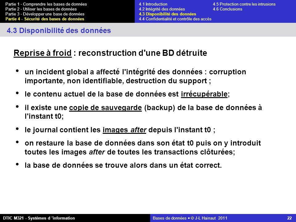 Bases de données   J-L Hainaut 2011 22 Partie 1 - Comprendre les bases de données Partie 2 - Utiliser les bases de données Partie 3 - Développer une base de données Partie 4 - Sécurité des bases de données DTIC M321 - Systèmes d 'information 4.3 Disponibilité des données Reprise à froid : reconstruction d une BD détruite un incident global a affecté l intégrité des données : corruption importante, non identifiable, destruction du support ; le contenu actuel de la base de données est irrécupérable; il existe une copie de sauvegarde (backup) de la base de données à l instant t0; le journal contient les images after depuis l instant t0 ; on restaure la base de données dans son état t0 puis on y introduit toutes les images after de toutes les transactions clôturées; la base de données se trouve alors dans un état correct.