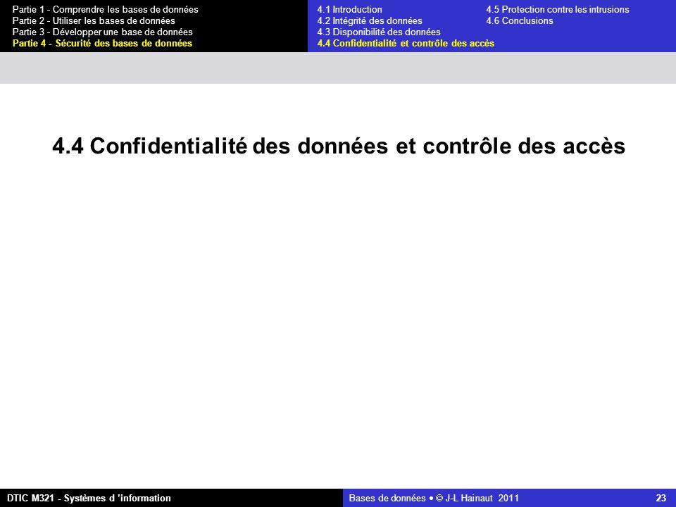 Bases de données   J-L Hainaut 2011 23 Partie 1 - Comprendre les bases de données Partie 2 - Utiliser les bases de données Partie 3 - Développer une base de données Partie 4 - Sécurité des bases de données DTIC M321 - Systèmes d 'information 4.4 Confidentialité des données et contrôle des accès 4.1 Introduction4.5 Protection contre les intrusions 4.2 Intégrité des données 4.6 Conclusions 4.3 Disponibilité des données 4.4 Confidentialité et contrôle des accès