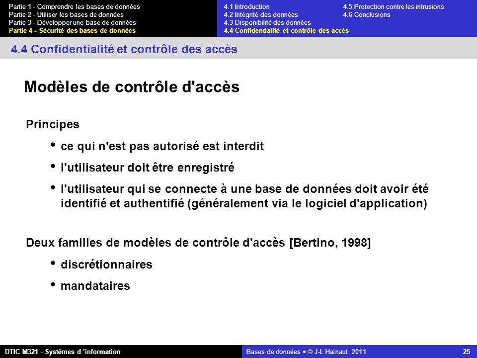 Bases de données   J-L Hainaut 2011 25 Partie 1 - Comprendre les bases de données Partie 2 - Utiliser les bases de données Partie 3 - Développer une base de données Partie 4 - Sécurité des bases de données DTIC M321 - Systèmes d 'information 4.4 Confidentialité et contrôle des accès Modèles de contrôle d accès Principes ce qui n est pas autorisé est interdit l utilisateur doit être enregistré l utilisateur qui se connecte à une base de données doit avoir été identifié et authentifié (généralement via le logiciel d application) Deux familles de modèles de contrôle d accès [Bertino, 1998] discrétionnaires mandataires 4.1 Introduction4.5 Protection contre les intrusions 4.2 Intégrité des données 4.6 Conclusions 4.3 Disponibilité des données 4.4 Confidentialité et contrôle des accès