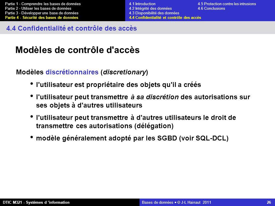 Bases de données   J-L Hainaut 2011 26 Partie 1 - Comprendre les bases de données Partie 2 - Utiliser les bases de données Partie 3 - Développer une base de données Partie 4 - Sécurité des bases de données DTIC M321 - Systèmes d 'information 4.4 Confidentialité et contrôle des accès Modèles de contrôle d accès Modèles discrétionnaires (discretionary) l utilisateur est propriétaire des objets qu il a créés l utilisateur peut transmettre à sa discrétion des autorisations sur ses objets à d autres utilisateurs l utilisateur peut transmettre à d autres utilisateurs le droit de transmettre ces autorisations (délégation) modèle généralement adopté par les SGBD (voir SQL-DCL) 4.1 Introduction4.5 Protection contre les intrusions 4.2 Intégrité des données 4.6 Conclusions 4.3 Disponibilité des données 4.4 Confidentialité et contrôle des accès