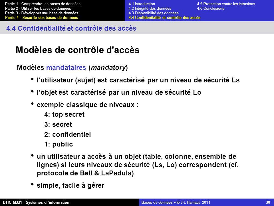 Bases de données   J-L Hainaut 2011 30 Partie 1 - Comprendre les bases de données Partie 2 - Utiliser les bases de données Partie 3 - Développer une base de données Partie 4 - Sécurité des bases de données DTIC M321 - Systèmes d 'information 4.4 Confidentialité et contrôle des accès Modèles de contrôle d accès Modèles mandataires (mandatory) l utilisateur (sujet) est caractérisé par un niveau de sécurité Ls l objet est caractérisé par un niveau de sécurité Lo exemple classique de niveaux : 4: top secret 3: secret 2: confidentiel 1: public un utilisateur a accès à un objet (table, colonne, ensemble de lignes) si leurs niveaux de sécurité (Ls, Lo) correspondent (cf.