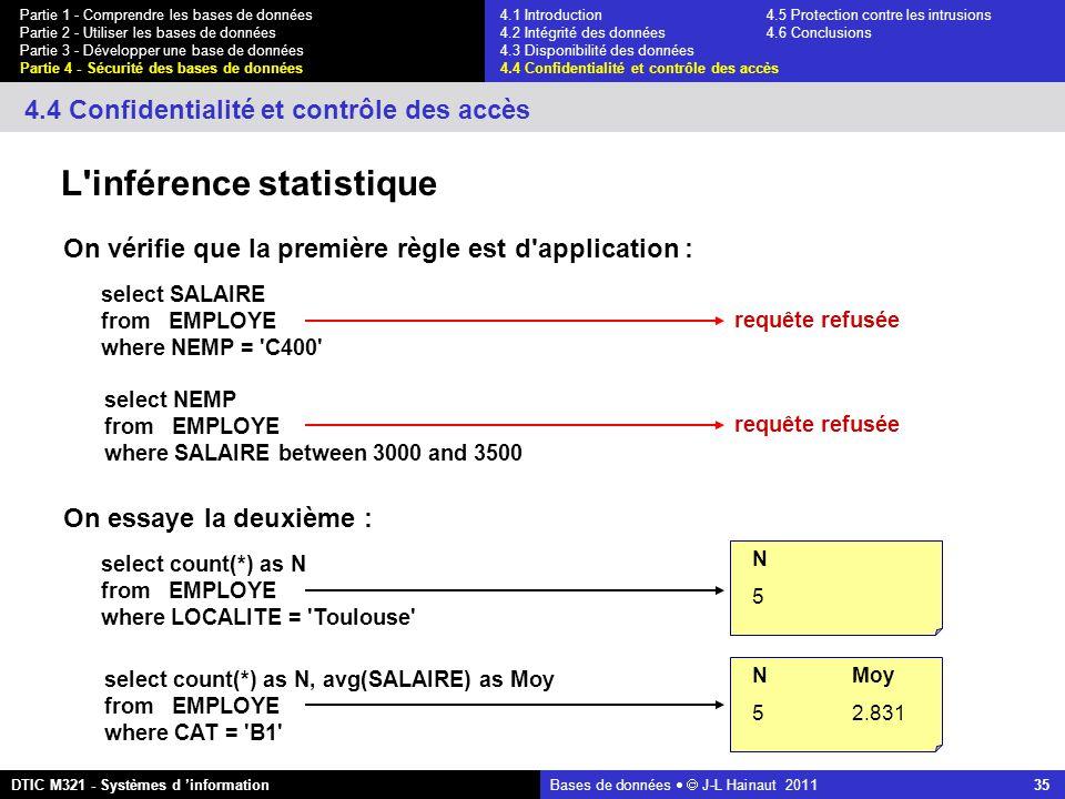 Bases de données   J-L Hainaut 2011 35 Partie 1 - Comprendre les bases de données Partie 2 - Utiliser les bases de données Partie 3 - Développer une base de données Partie 4 - Sécurité des bases de données DTIC M321 - Systèmes d 'information 4.4 Confidentialité et contrôle des accès L inférence statistique select SALAIRE from EMPLOYE where NEMP = C400 select NEMP from EMPLOYE where SALAIRE between 3000 and 3500 requête refusée On vérifie que la première règle est d application : select count(*) as N from EMPLOYE where LOCALITE = Toulouse select count(*) as N, avg(SALAIRE) as Moy from EMPLOYE where CAT = B1 On essaye la deuxième : N 5 NMoy 52.831 4.1 Introduction4.5 Protection contre les intrusions 4.2 Intégrité des données 4.6 Conclusions 4.3 Disponibilité des données 4.4 Confidentialité et contrôle des accès