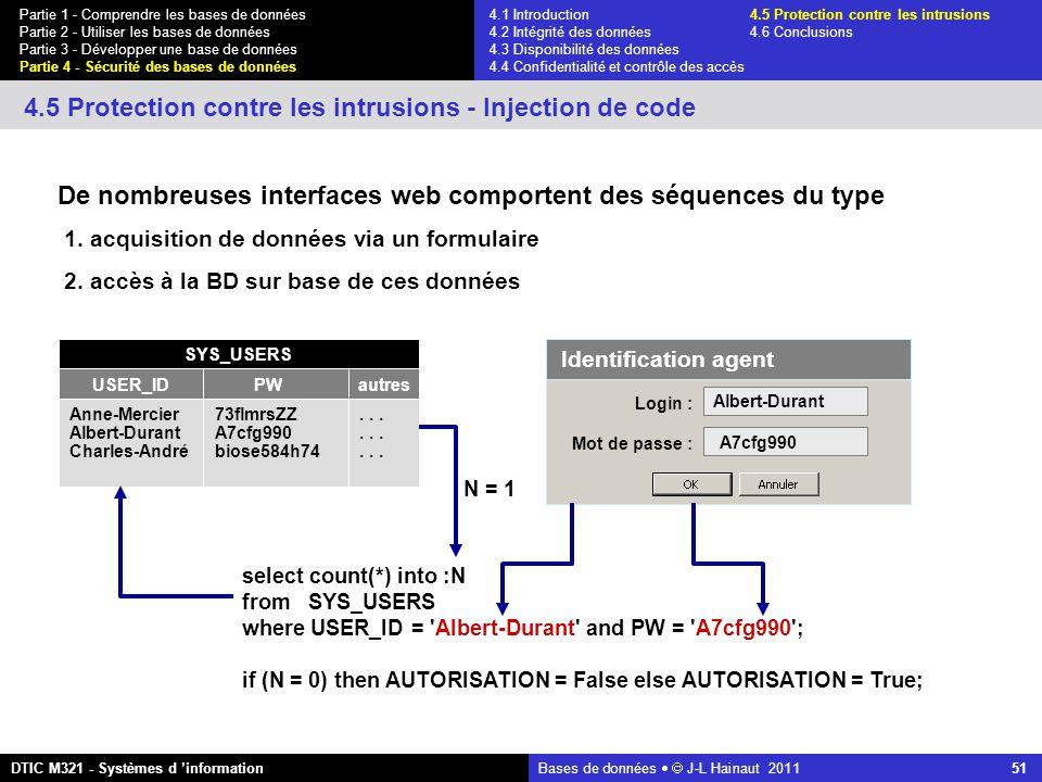 Bases de données   J-L Hainaut 2011 51 Partie 1 - Comprendre les bases de données Partie 2 - Utiliser les bases de données Partie 3 - Développer une base de données Partie 4 - Sécurité des bases de données DTIC M321 - Systèmes d 'information 4.5 Protection contre les intrusions - Injection de code De nombreuses interfaces web comportent des séquences du type 1.