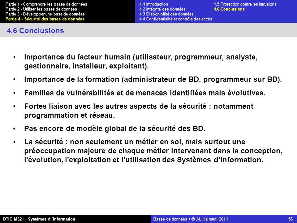 Bases de données   J-L Hainaut 2011 56 Partie 1 - Comprendre les bases de données Partie 2 - Utiliser les bases de données Partie 3 - Développer une base de données Partie 4 - Sécurité des bases de données DTIC M321 - Systèmes d 'information 4.6 Conclusions Importance du facteur humain (utilisateur, programmeur, analyste, gestionnaire, installeur, exploitant).