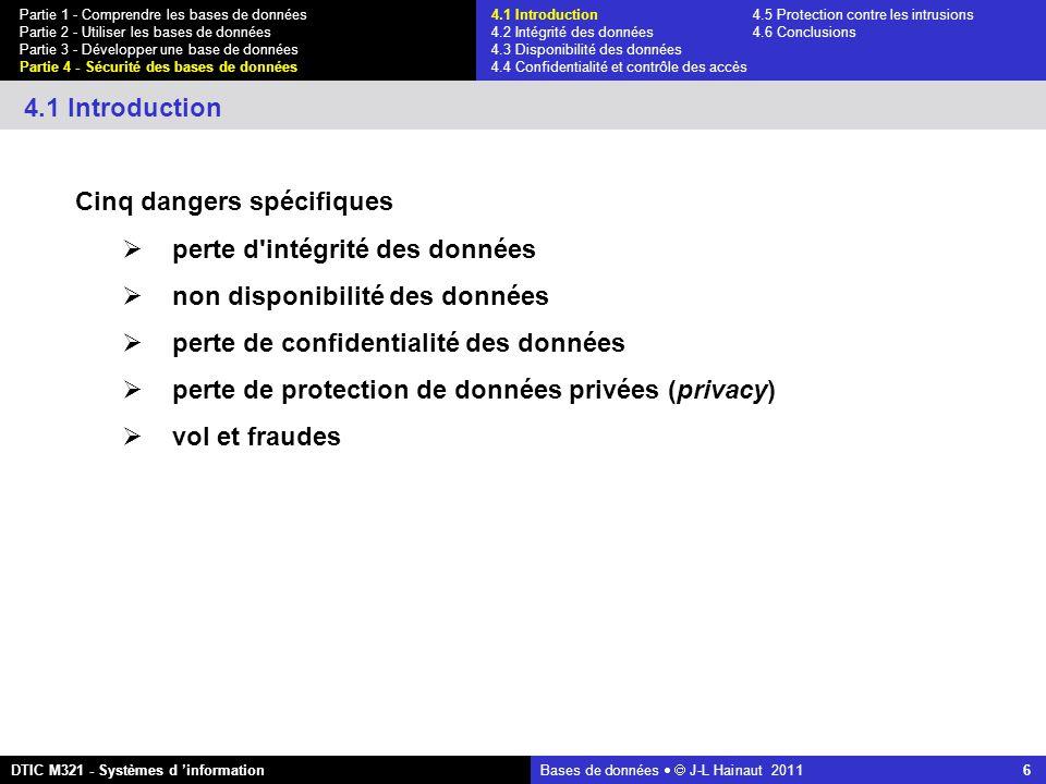Bases de données   J-L Hainaut 2011 6 Partie 1 - Comprendre les bases de données Partie 2 - Utiliser les bases de données Partie 3 - Développer une base de données Partie 4 - Sécurité des bases de données DTIC M321 - Systèmes d 'information 4.1 Introduction 4.1 Introduction4.5 Protection contre les intrusions 4.2 Intégrité des données 4.6 Conclusions 4.3 Disponibilité des données 4.4 Confidentialité et contrôle des accès Cinq dangers spécifiques  perte d intégrité des données  non disponibilité des données  perte de confidentialité des données  perte de protection de données privées (privacy)  vol et fraudes