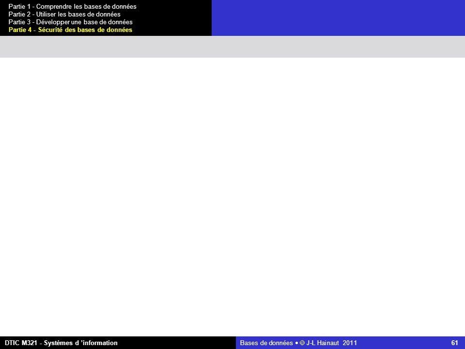 Bases de données   J-L Hainaut 2011 61 Partie 1 - Comprendre les bases de données Partie 2 - Utiliser les bases de données Partie 3 - Développer une base de données Partie 4 - Sécurité des bases de données DTIC M321 - Systèmes d 'information