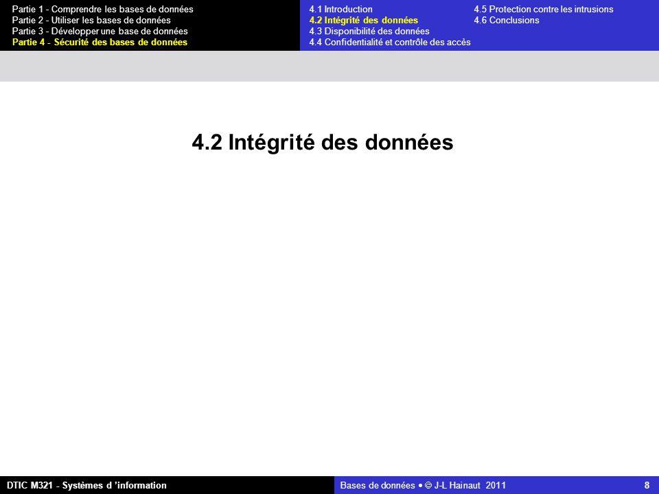 Bases de données   J-L Hainaut 2011 29 Partie 1 - Comprendre les bases de données Partie 2 - Utiliser les bases de données Partie 3 - Développer une base de données Partie 4 - Sécurité des bases de données DTIC M321 - Systèmes d 'information 4.1 Introduction4.5 Protection contre les intrusions 4.2 Intégrité des données 4.6 Conclusions 4.3 Disponibilité des données 4.4 Confidentialité et contrôle des accès Limite des modèles discrétionnaires U2 crée un programme quelconque P (p.