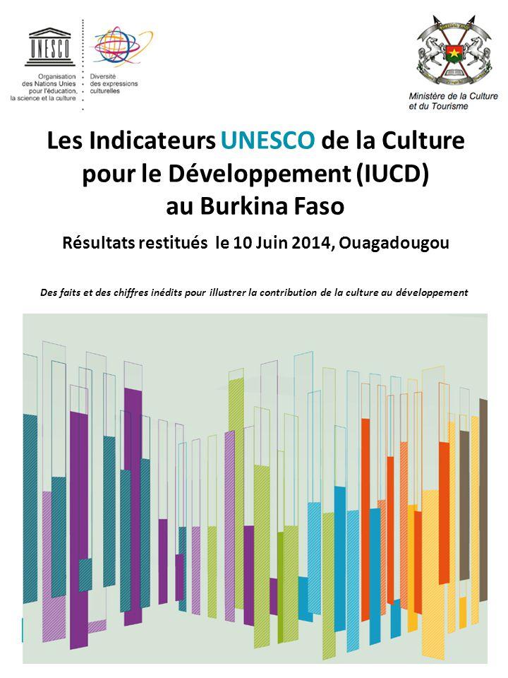 Les Indicateurs UNESCO de la Culture pour le Développement (IUCD) au Burkina Faso Résultats restitués le 10 Juin 2014, Ouagadougou Des faits et des chiffres inédits pour illustrer la contribution de la culture au développement
