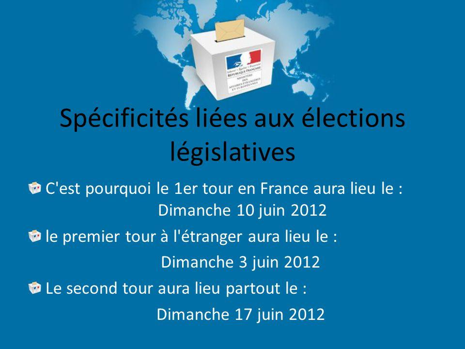 Spécificités liées aux élections législatives C est pourquoi le 1er tour en France aura lieu le : Dimanche 10 juin 2012 le premier tour à l étranger aura lieu le : Dimanche 3 juin 2012 Le second tour aura lieu partout le : Dimanche 17 juin 2012