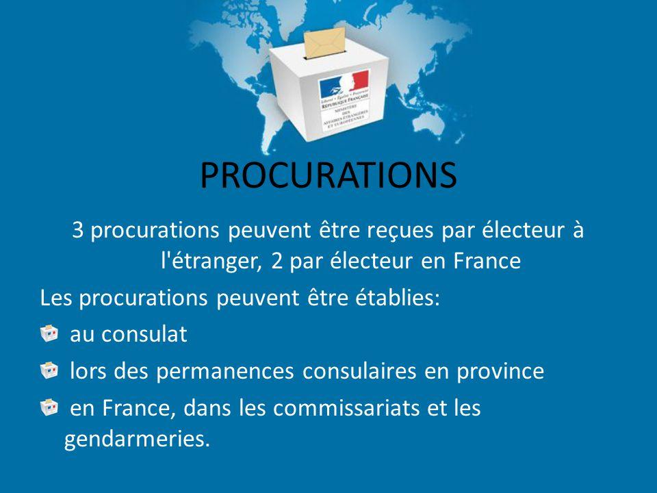 PROCURATIONS 3 procurations peuvent être reçues par électeur à l étranger, 2 par électeur en France Les procurations peuvent être établies: au consulat lors des permanences consulaires en province en France, dans les commissariats et les gendarmeries.