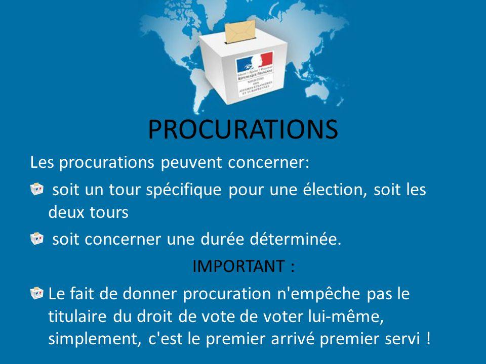 PROCURATIONS Les procurations peuvent concerner: soit un tour spécifique pour une élection, soit les deux tours soit concerner une durée déterminée.
