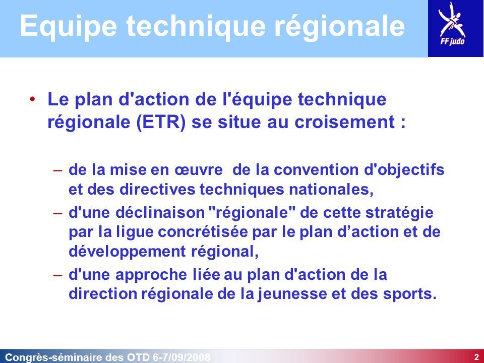 2 Congrès-séminaire des OTD 6-7/09/2008 Le plan d action de l équipe technique régionale (ETR) se situe au croisement : –de la mise en œuvre de la convention d objectifs et des directives techniques nationales, –d une déclinaison régionale de cette stratégie par la ligue concrétisée par le plan d'action et de développement régional, –d une approche liée au plan d action de la direction régionale de la jeunesse et des sports.