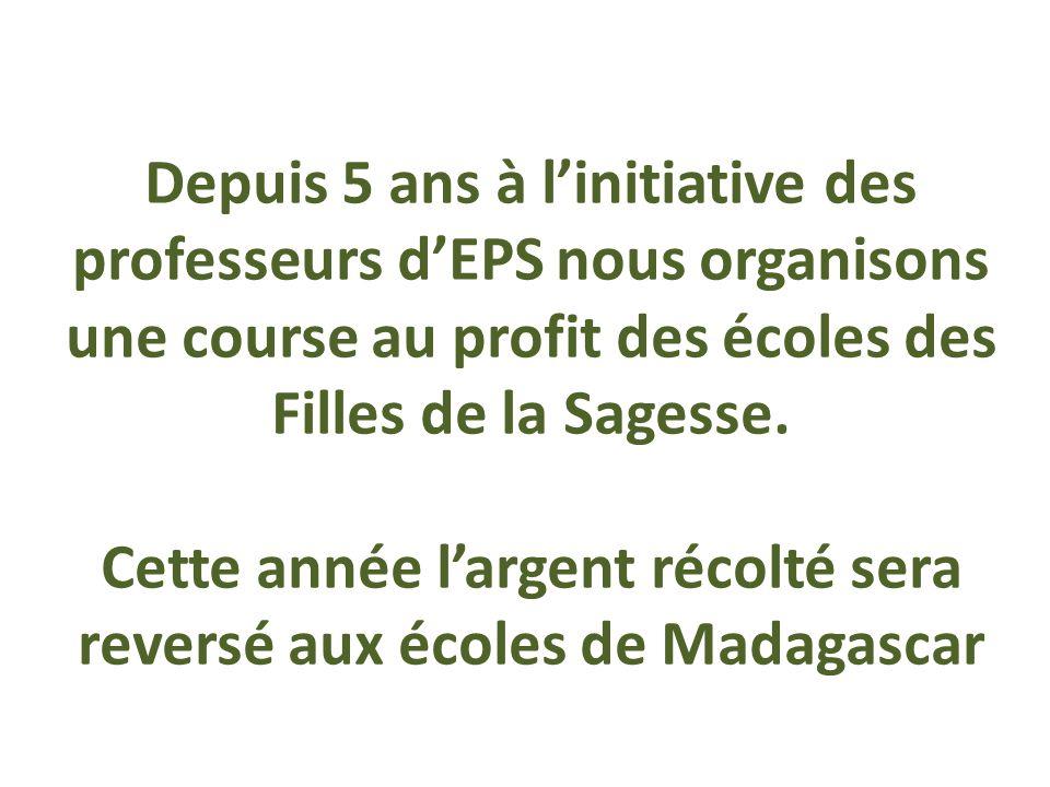 Depuis 5 ans à l'initiative des professeurs d'EPS nous organisons une course au profit des écoles des Filles de la Sagesse.