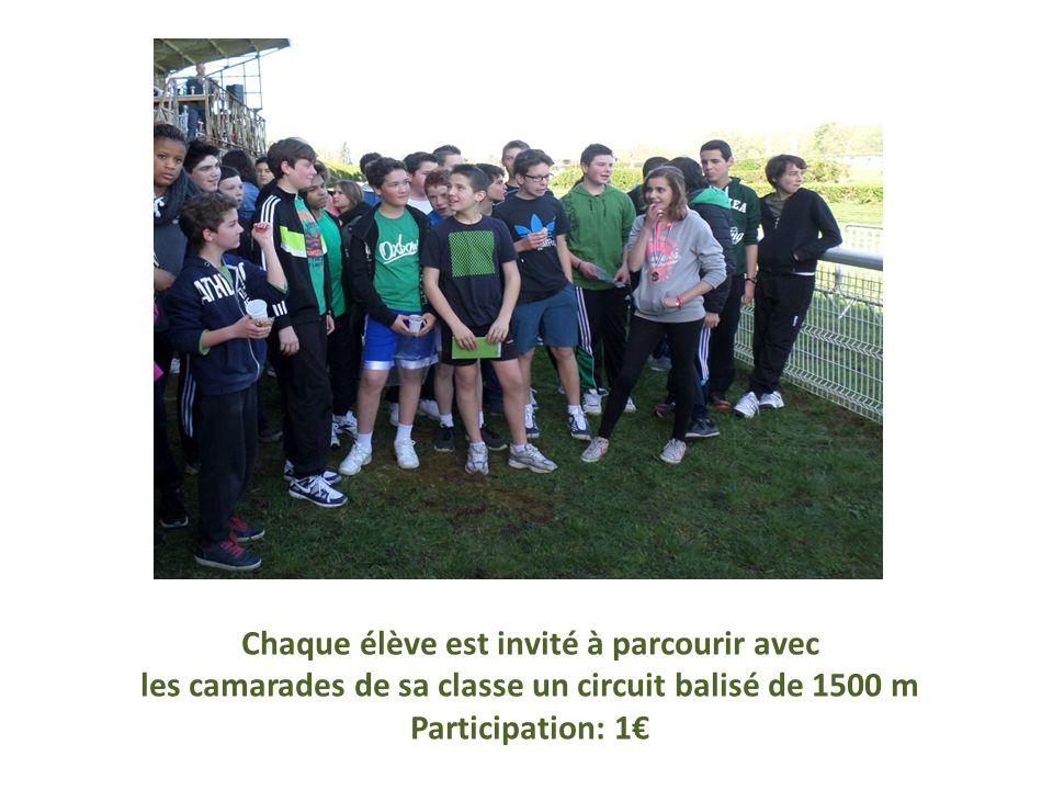 Chaque élève est invité à parcourir avec les camarades de sa classe un circuit balisé de 1500 m Participation: 1€