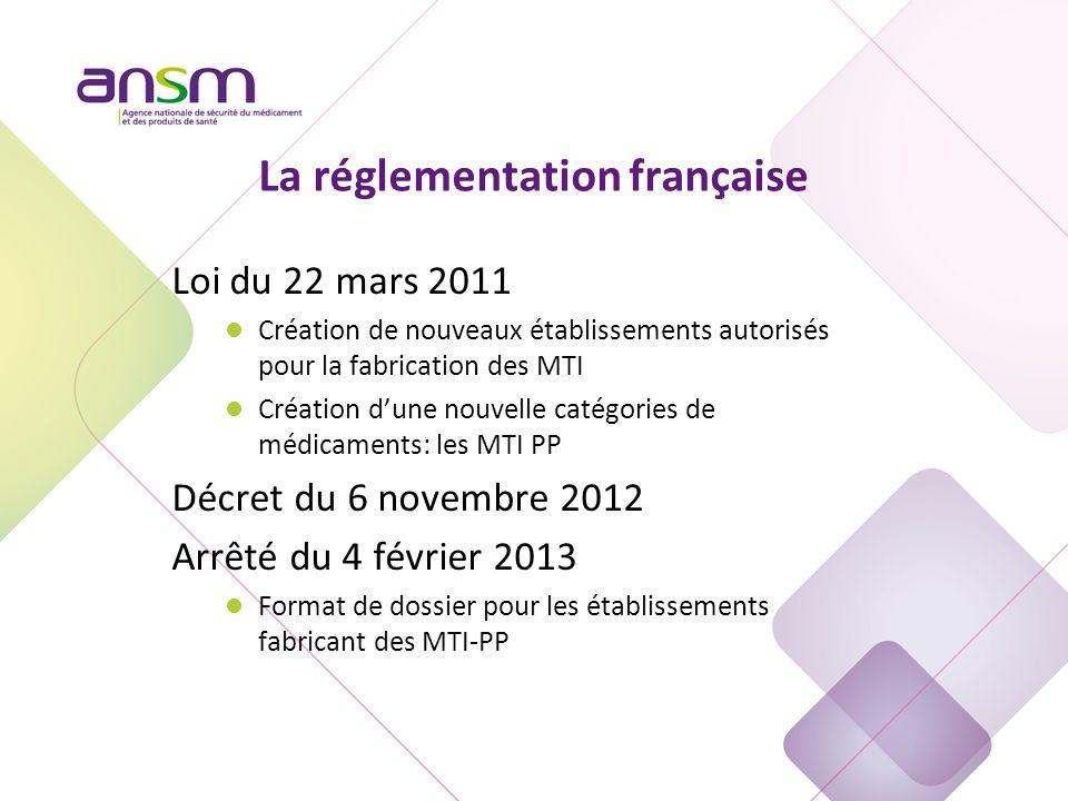 La réglementation française Loi du 22 mars 2011 l Création de nouveaux établissements autorisés pour la fabrication des MTI l Création d'une nouvelle catégories de médicaments: les MTI PP Décret du 6 novembre 2012 Arrêté du 4 février 2013 l Format de dossier pour les établissements fabricant des MTI-PP