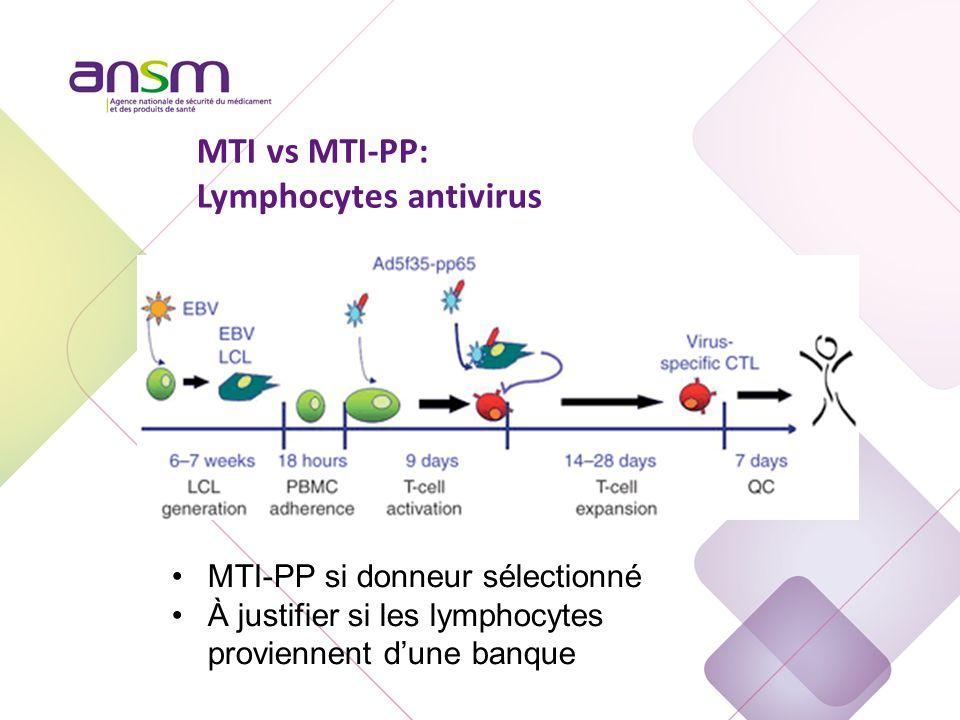 MTI-PP si donneur sélectionné À justifier si les lymphocytes proviennent d'une banque