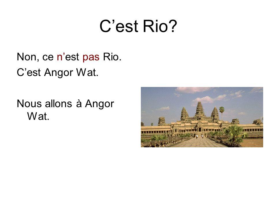 C'est Rio Non, ce n'est pas Rio. C'est Angor Wat. Nous allons à Angor Wat.