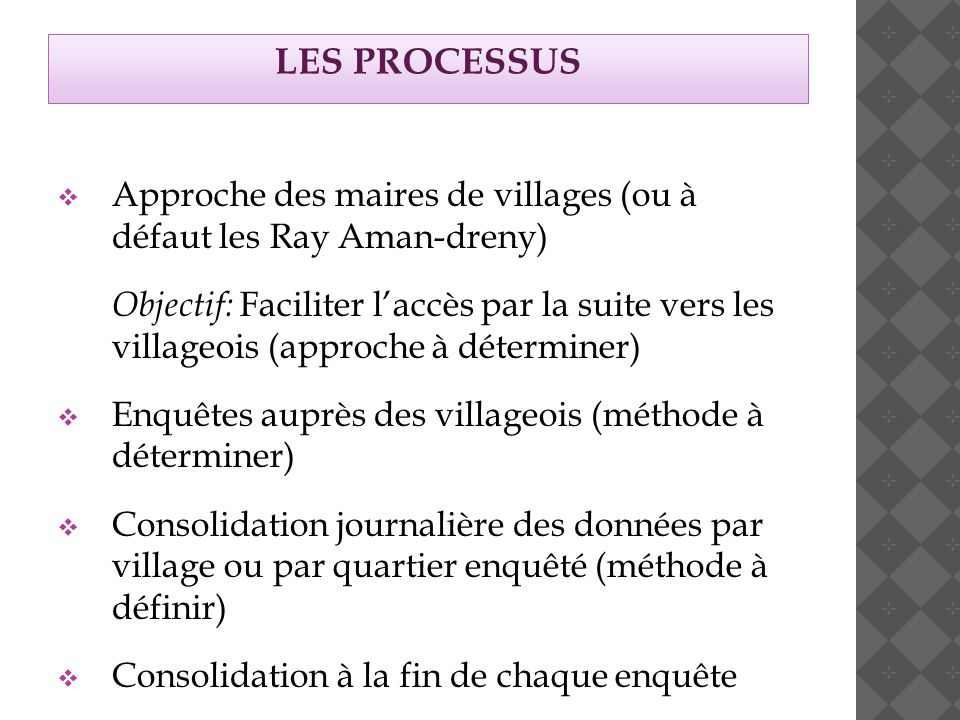 LES PROCESSUS  Approche des maires de villages (ou à défaut les Ray Aman-dreny) Objectif: Faciliter l'accès par la suite vers les villageois (approche à déterminer)  Enquêtes auprès des villageois (méthode à déterminer)  Consolidation journalière des données par village ou par quartier enquêté (méthode à définir)  Consolidation à la fin de chaque enquête